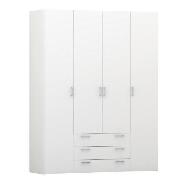 Pluto Wardrobe - 4 Doors 3 Drawers in White