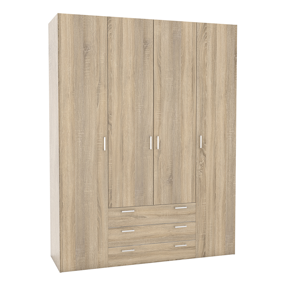 Wardrobe - 4 Doors 3 Drawers in Oak