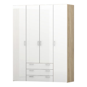 Wardrobe - 4 Doors 3 Drawers in Oak with White High Gloss