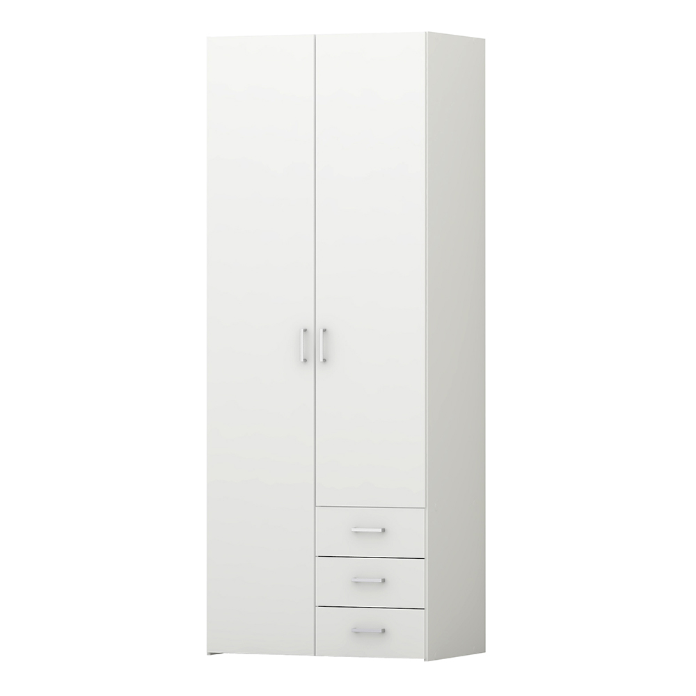 Wardrobe - 2 Doors 3 Drawers in White