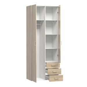 Wardrobe - 2 Doors 3 Drawers in Oak