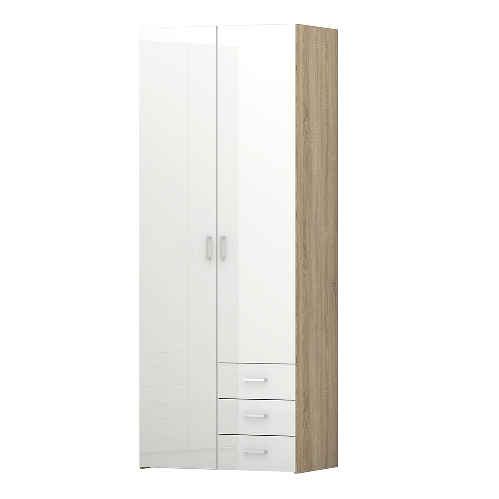 Wardrobe - 2 Doors 3 Drawers in Oak with White High Gloss