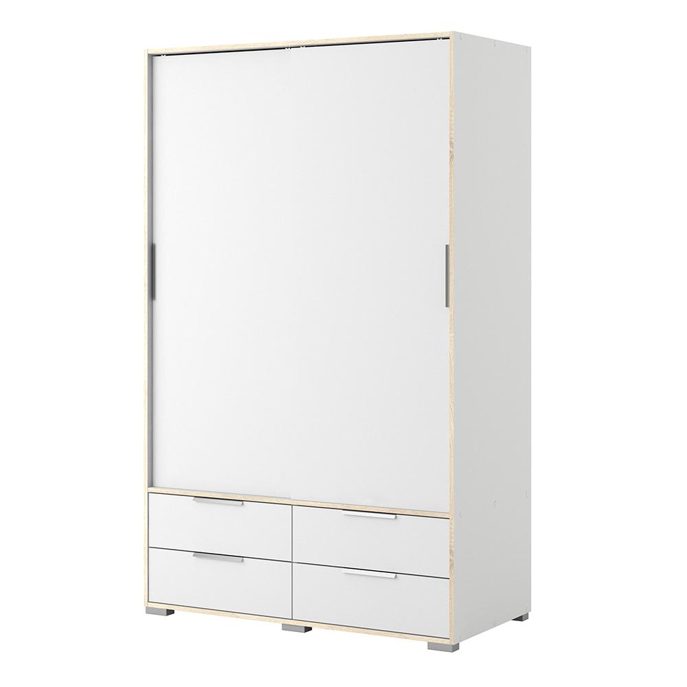 Wardrobe - 2 Doors 4 Drawers in White and Oak