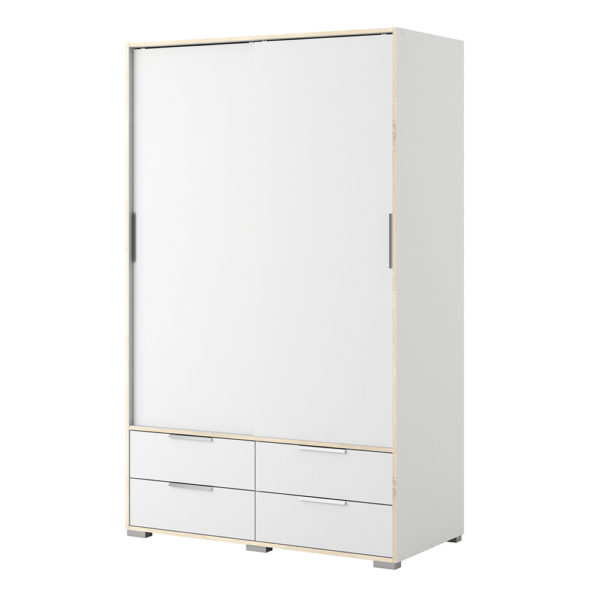 Wardrobe - 2 Doors 4 Drawers in White and Oak