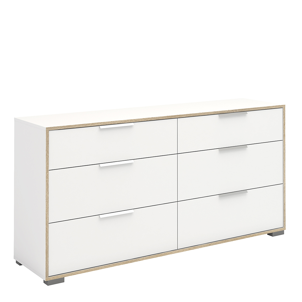 Wide Chest of 6 Drawers (3+3) in White and Oak