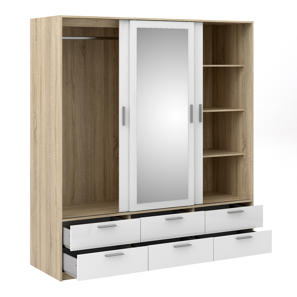 Wardrobe - 3 Doors 6 Drawers in Oak with White High Gloss