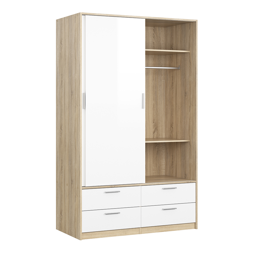 Wardrobe - 2 Doors 4 Drawers in Oak with White High Gloss