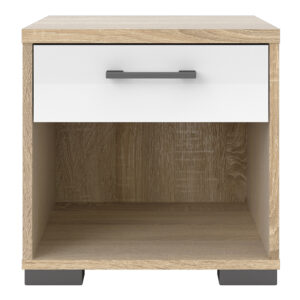 Bedside 1 Drawer in Oak with White High Gloss