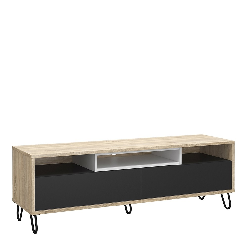TV Unit 2 Drawers w/ Media Compartment in Oak with Dark Grey and White