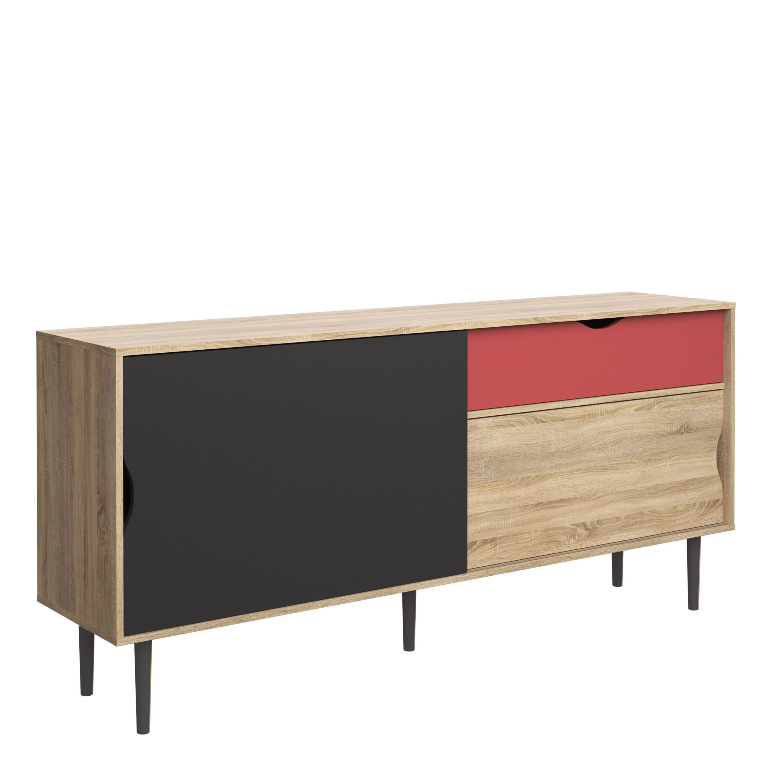 Unity Sideboard 1 Drawer w/ Sliding Doors in Oak with Dark Grey and Teracotta