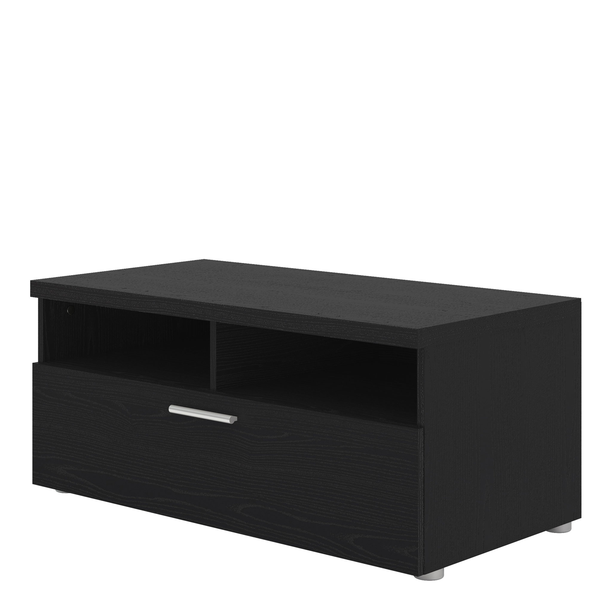 TV Unit 1 Drawer 2 Shelves in Black Woodgrain