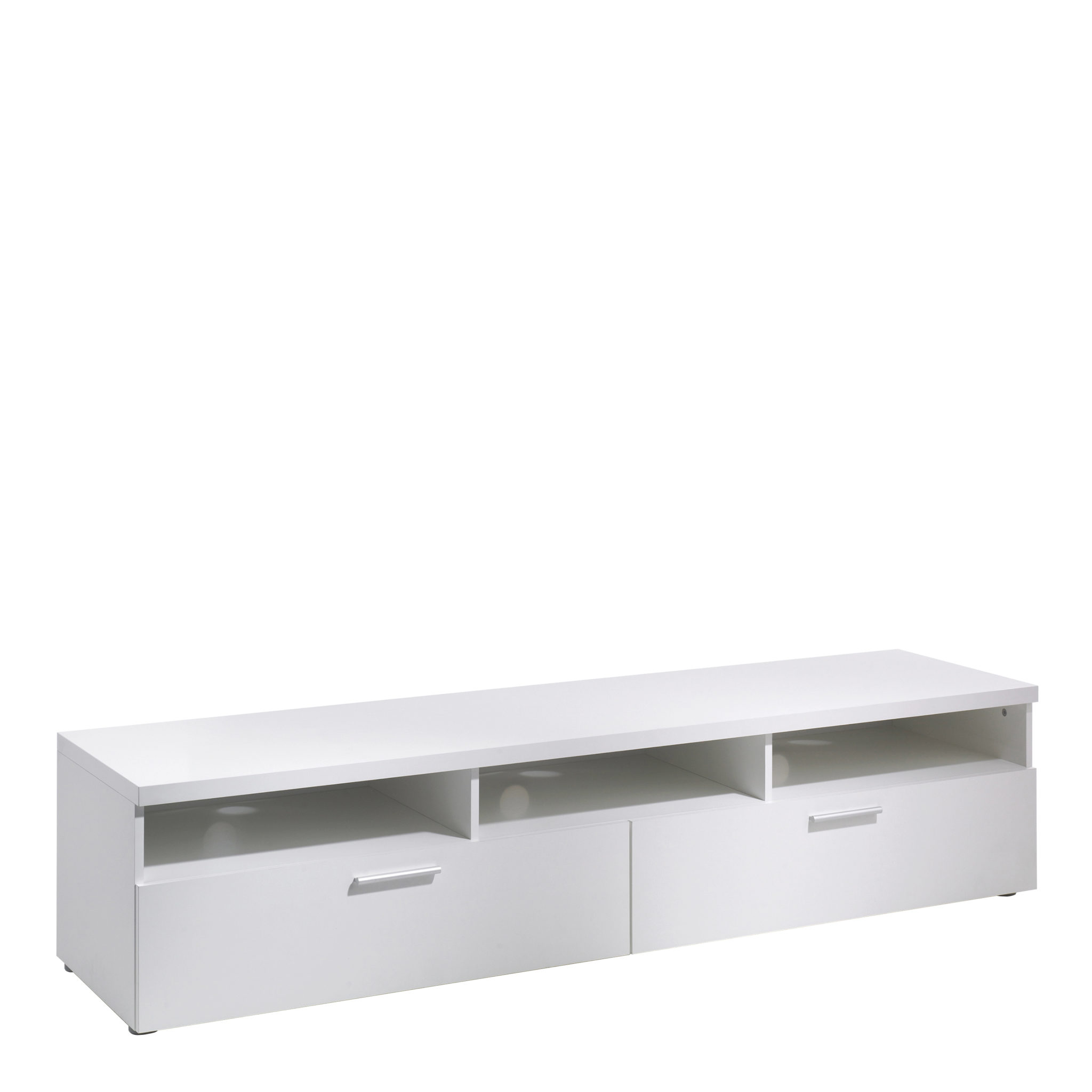 TV Unit 2 Drawers 3 Shelves in White