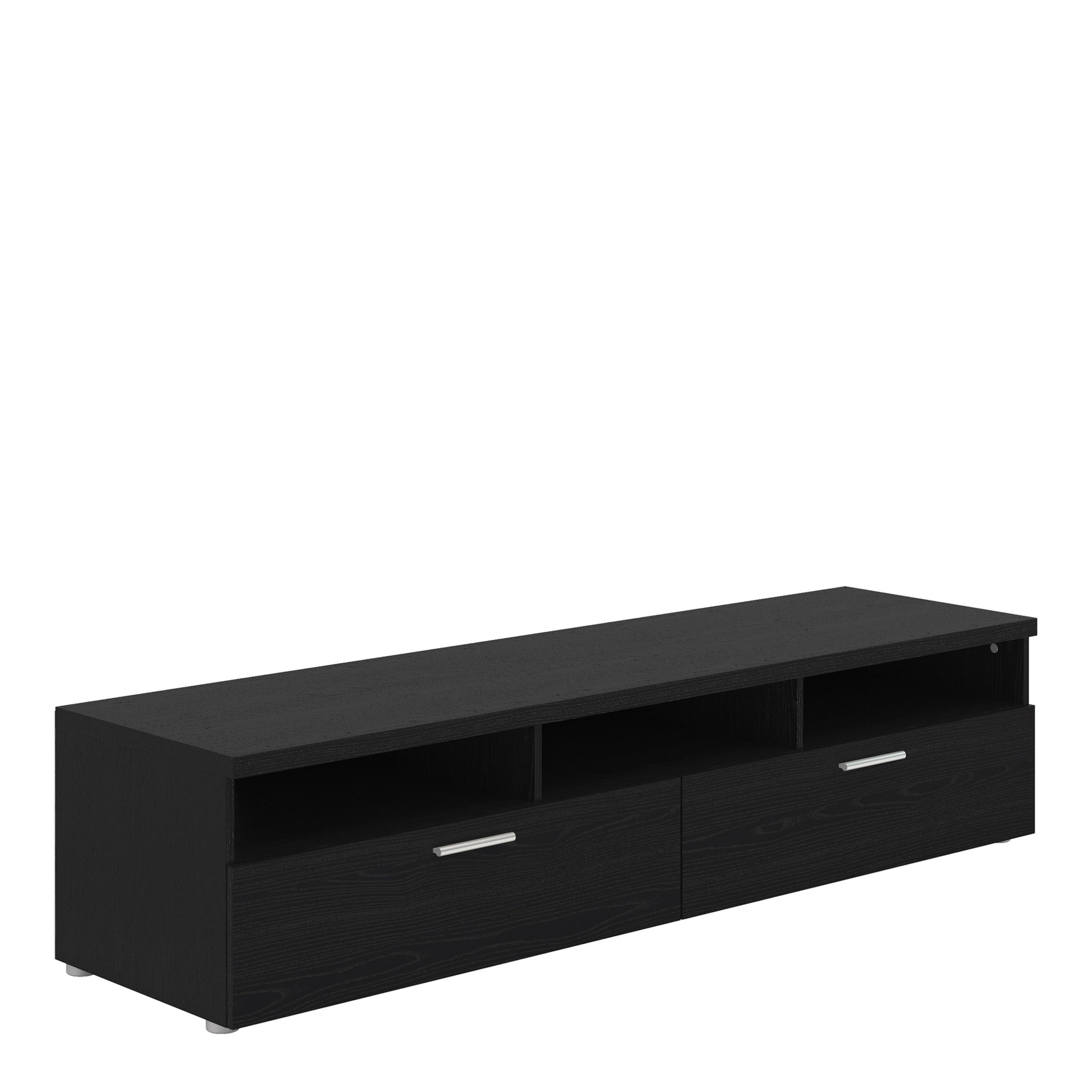 TV Unit 2 Drawers 3 Shelves in Black Woodgrain