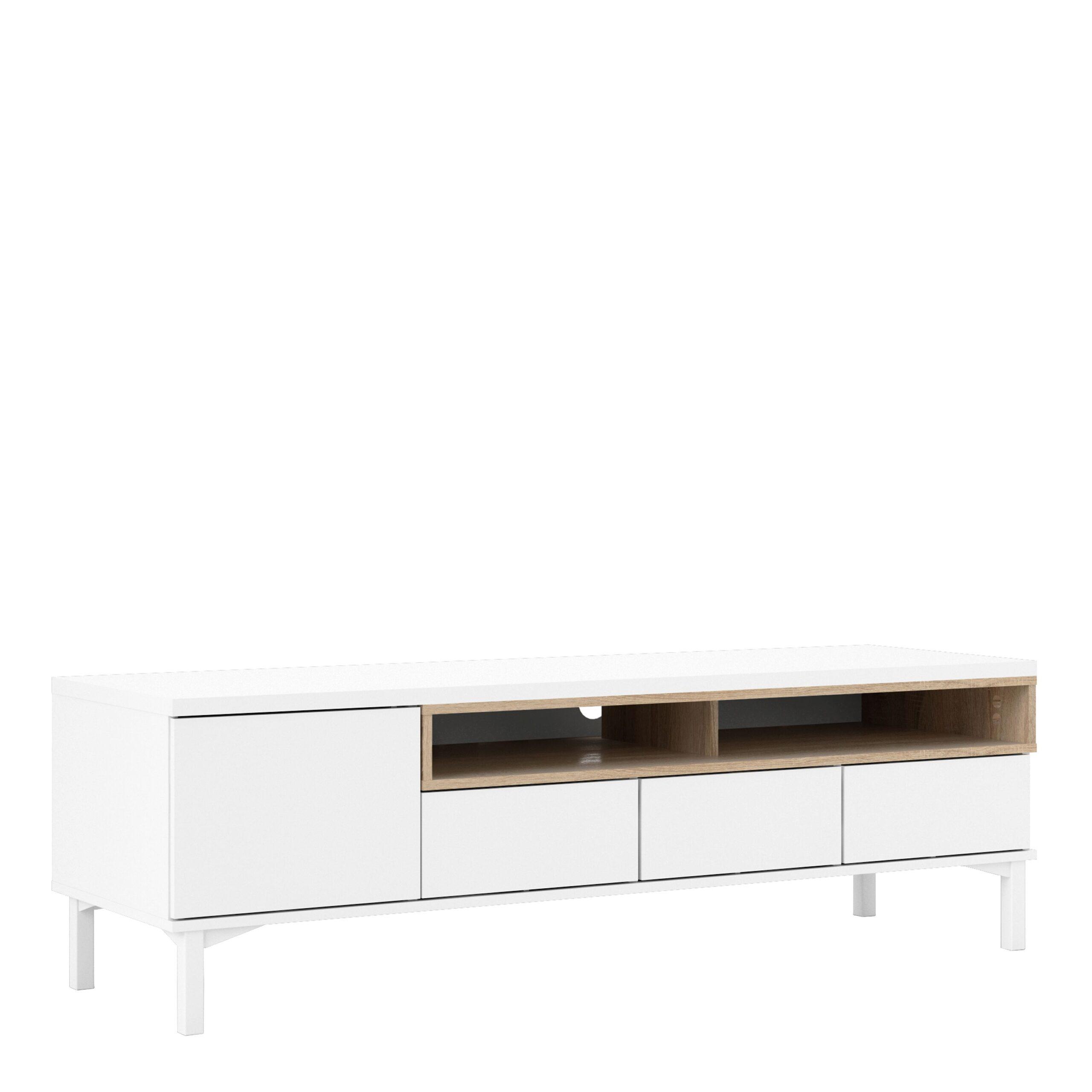 Ramen TV Units 3 Drawers 1 Door in White and Oak
