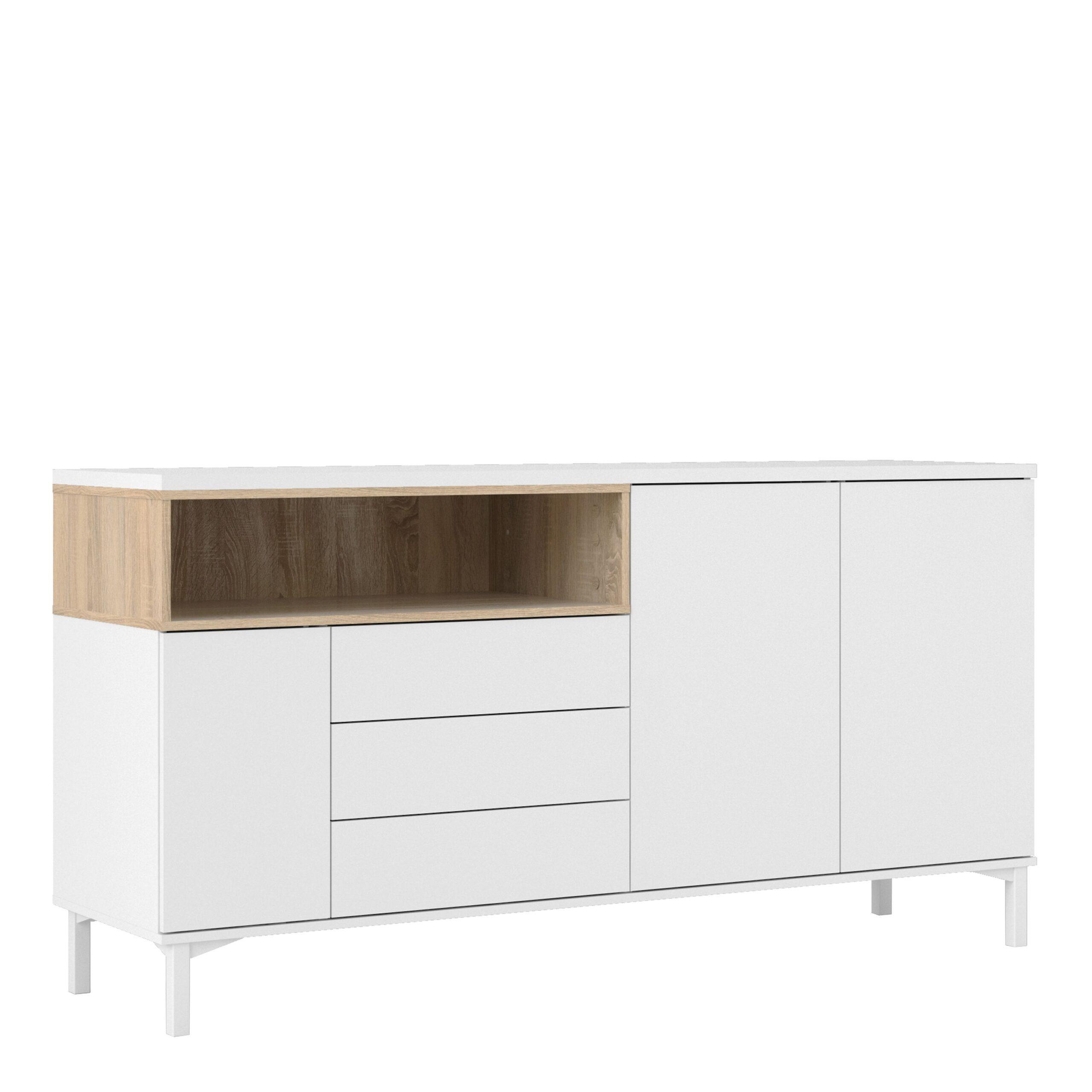 Ramen Sideboard 3 Drawers 3 Doors in White and Oak