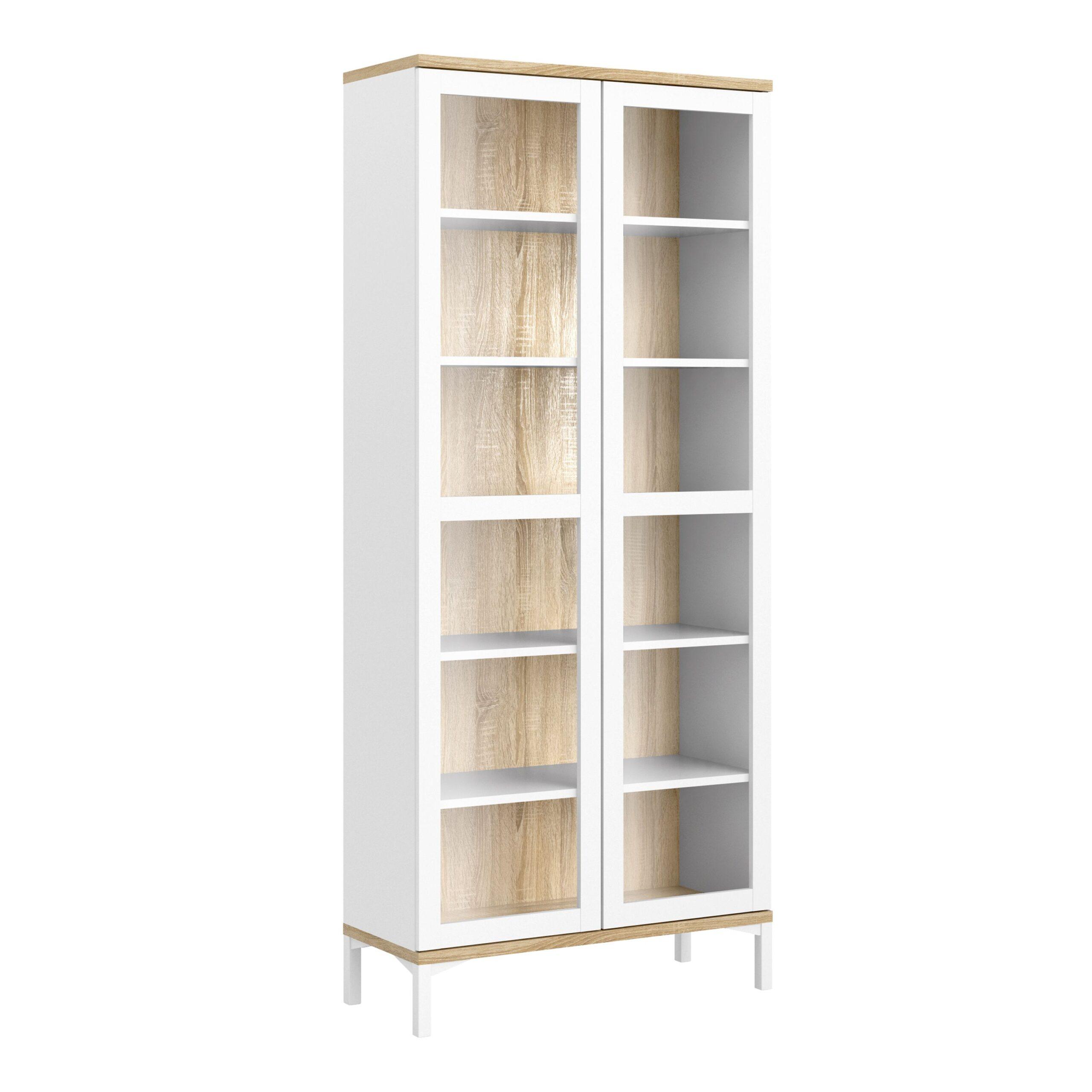 Ramen Display Cabinet Glazed 2 Doors in White and Oak