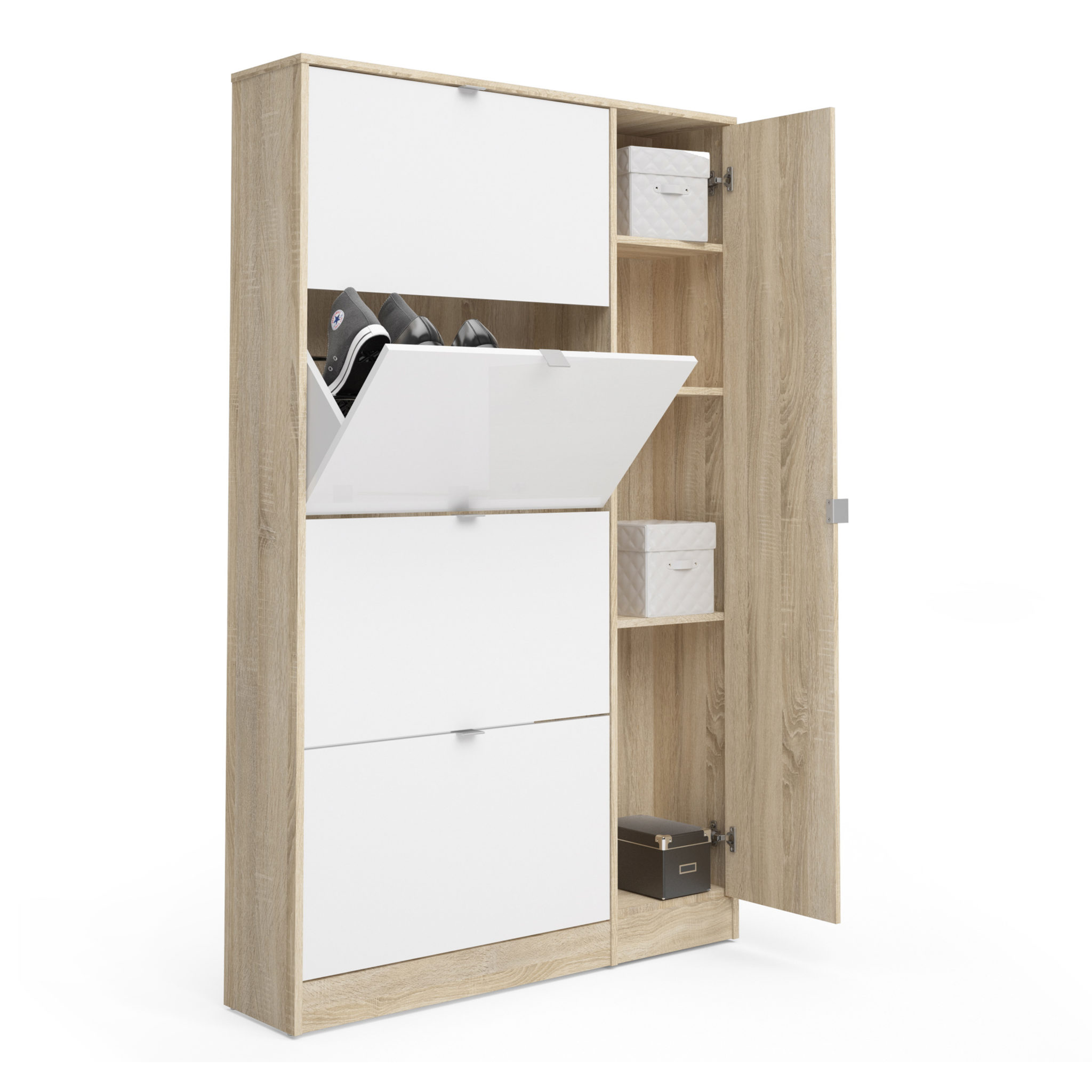 Shoe Cabinet 4 Compartments + 1 Door w/ Mirror in Oak with White High Gloss