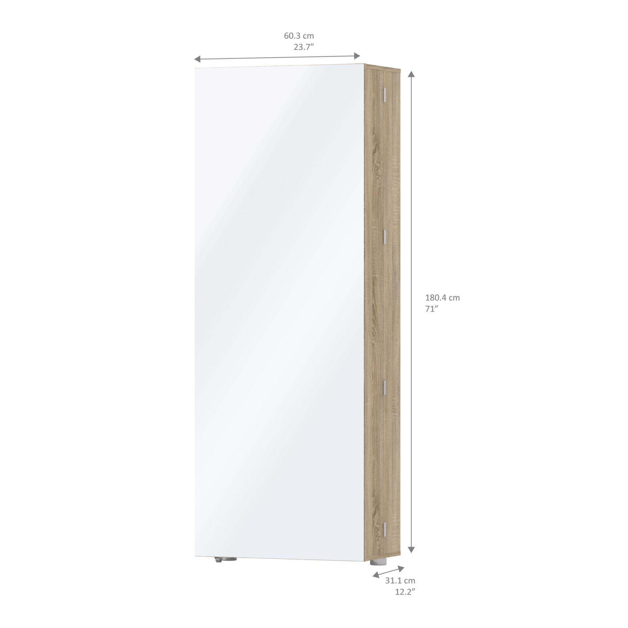 Mighto Shoe Cabinet 1 Door w/ Mirror in Oak