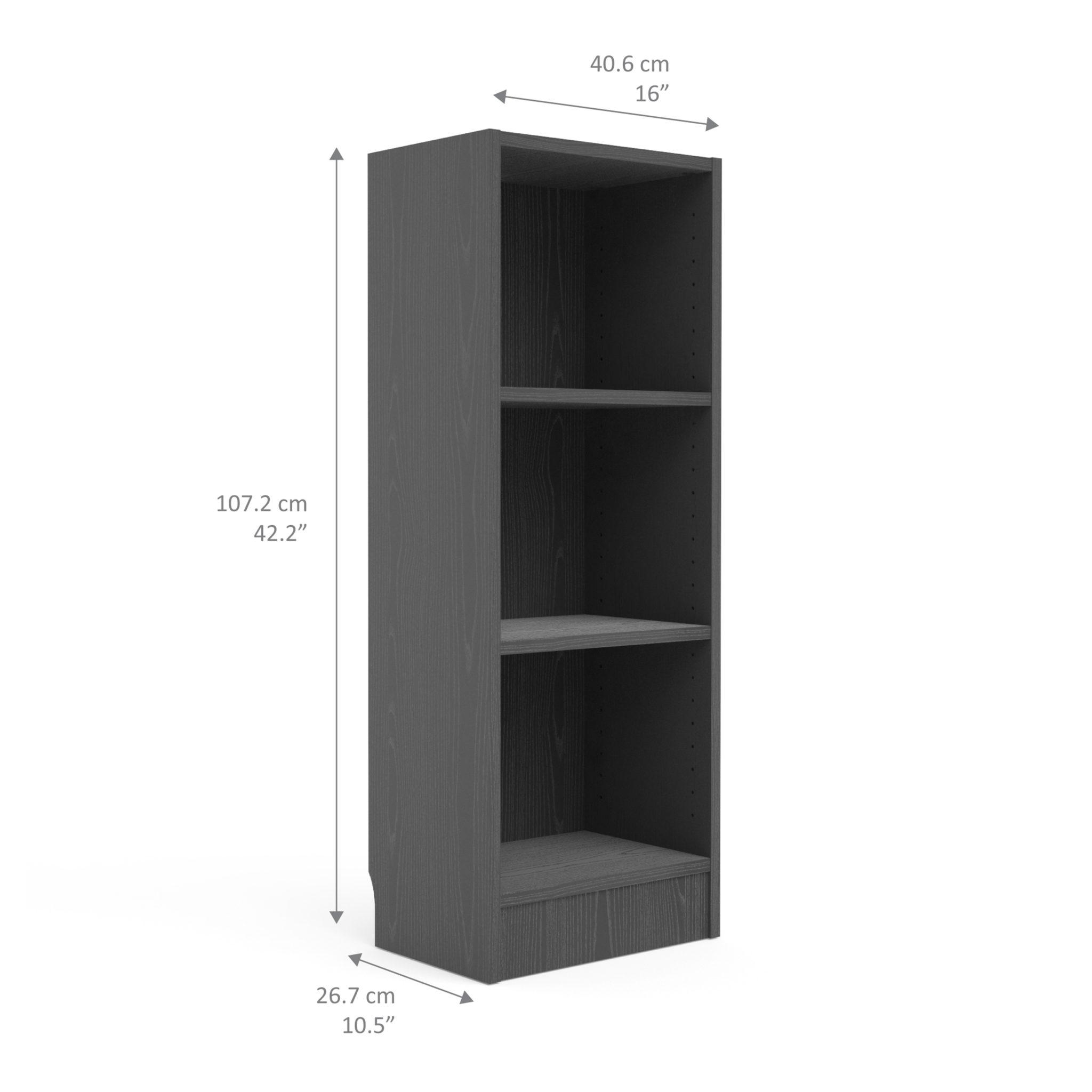 Duday Low Narrow Bookcase (2 Shelves) in Black Woodgrain