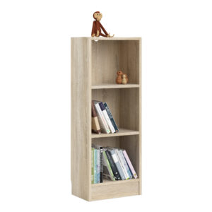 Duday Low Narrow Bookcase (2 Shelves) in Oak