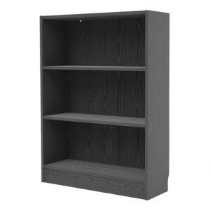 Duday Low Wide Bookcase (2 Shelves) in Black Woodgrain