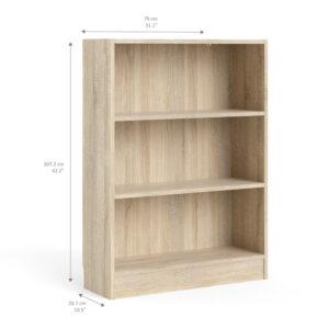 Duday Low Wide Bookcase (2 Shelves) in Oak