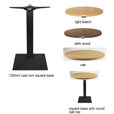 Stopey Round Dining Table With Square Cast Iron Base - Wenge - 80 cm