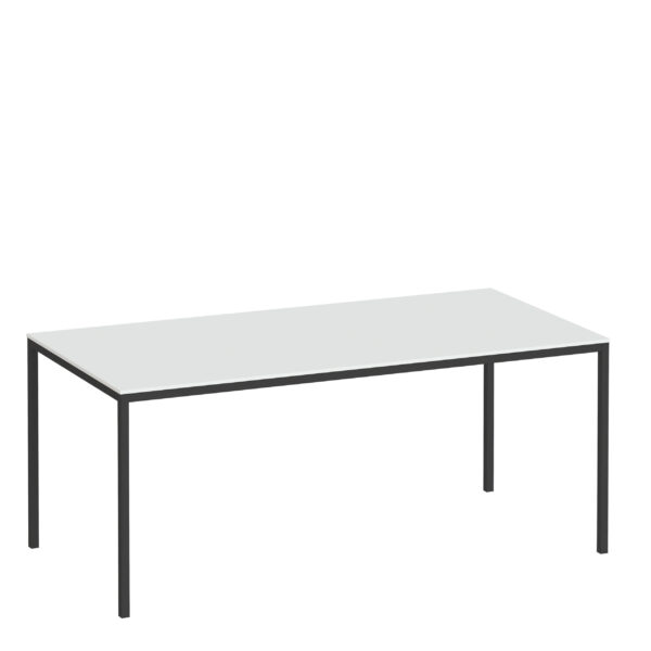 Folks Dining Table 180cm White Table Top with Black Legs
