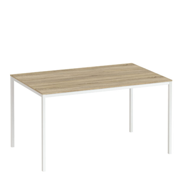 Folks Dining Table 140cm Oak Table Top with White Legs