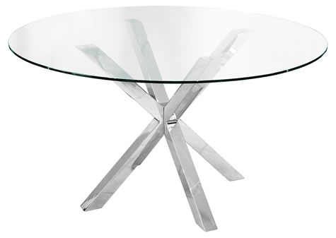 Daphene Large Glass Table 137Cm Round Dining Kitchen Table