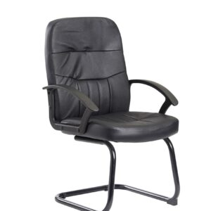 Cava executive visitors chair - black leather faced