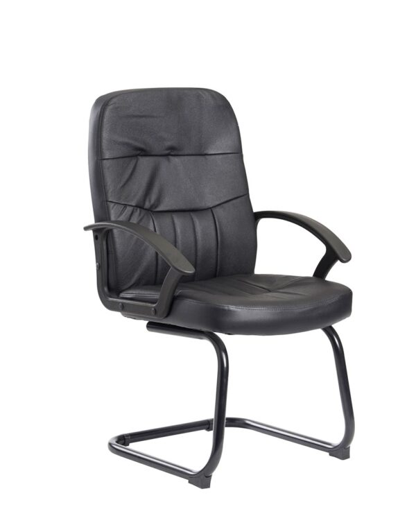 Alier Medium Back Black Leather Executive Office Visitor Chair With Back Support