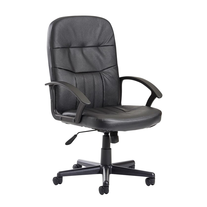 Alier High Back Black Leather Faced Executive Office Chair Back Support