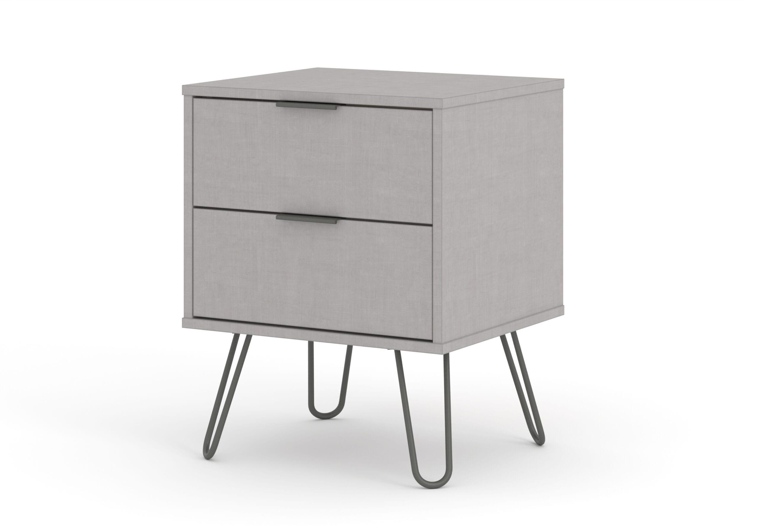 Augustine Grey 2 drawer bedside cabinet