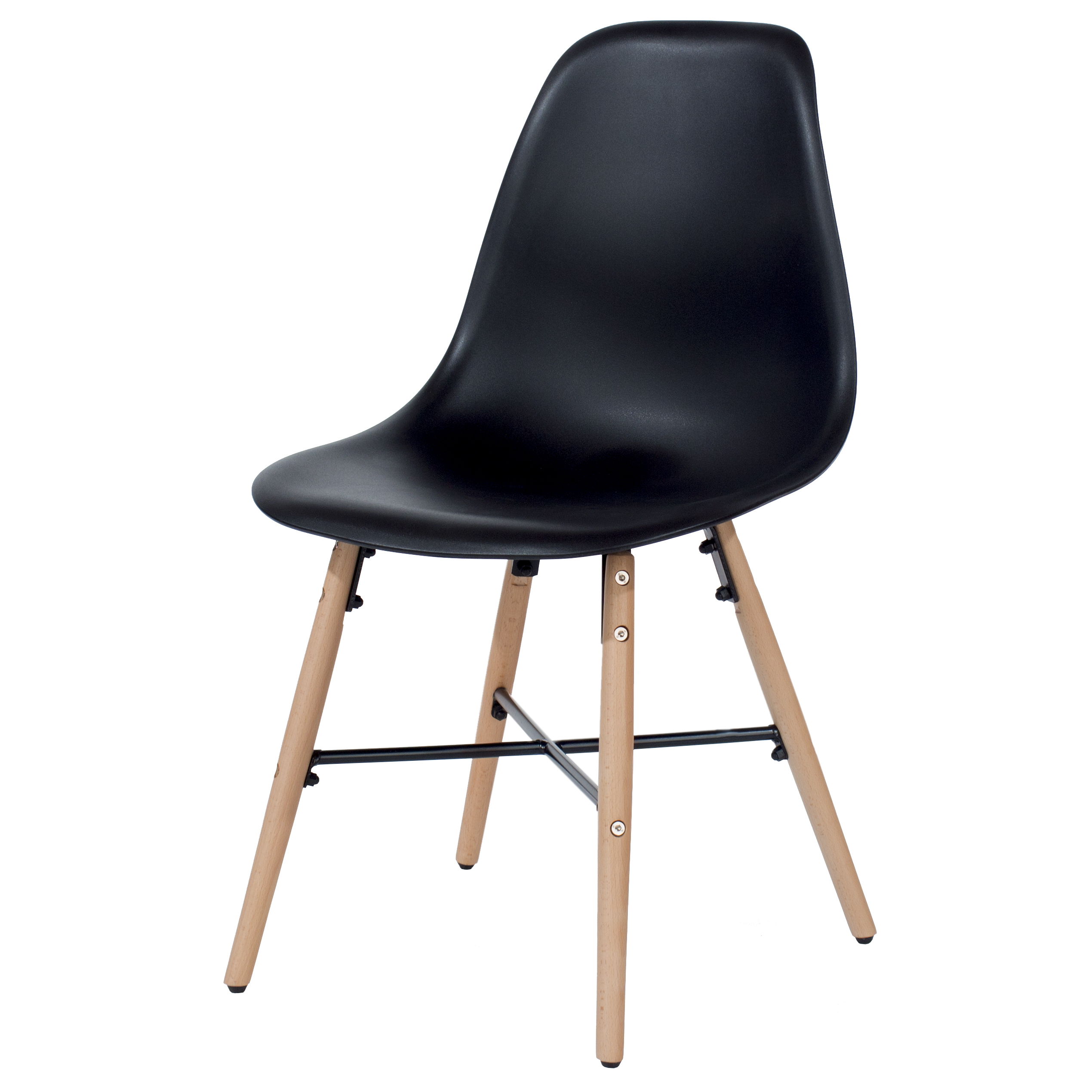 Penny black plastic chairs with wood legs & metal cross rails (pair)