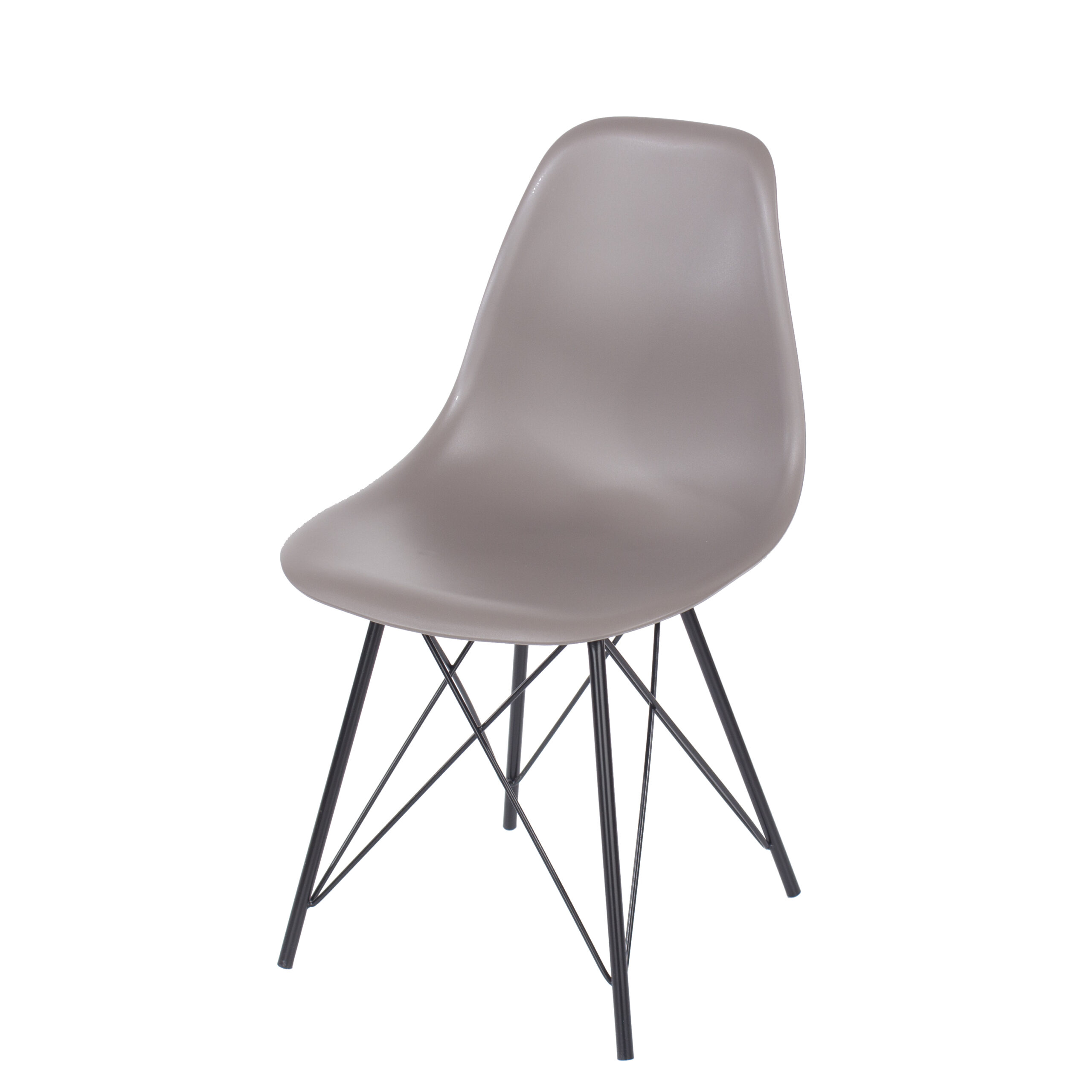 Penny truffle plastic chairs with black metal legs (pair)
