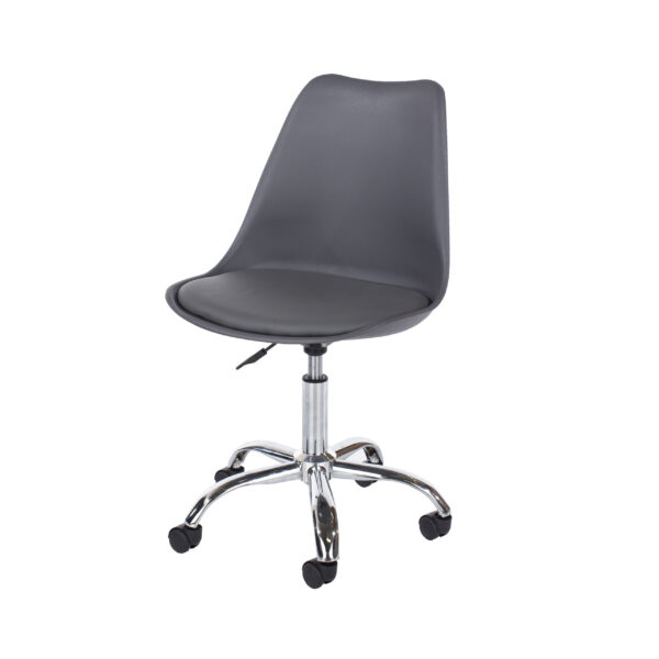 Penny home studio chair with upholstered seat in dark grey
