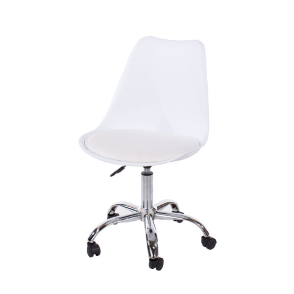 Penny home studio chair with upholstered seat in white