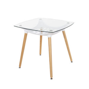 Penny square clear glass top table with white plastic underframe & wooden legs