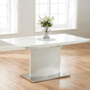 Heyson 160cm White High Gloss Extending Dining Table