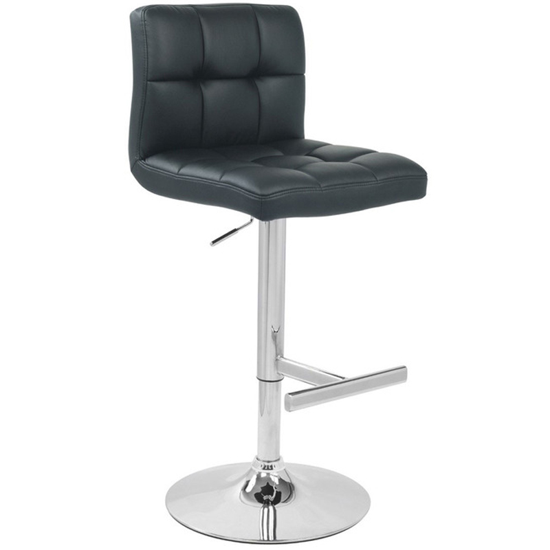 Azagi Chrome Real Leather Kitchen Bar Stool - Black