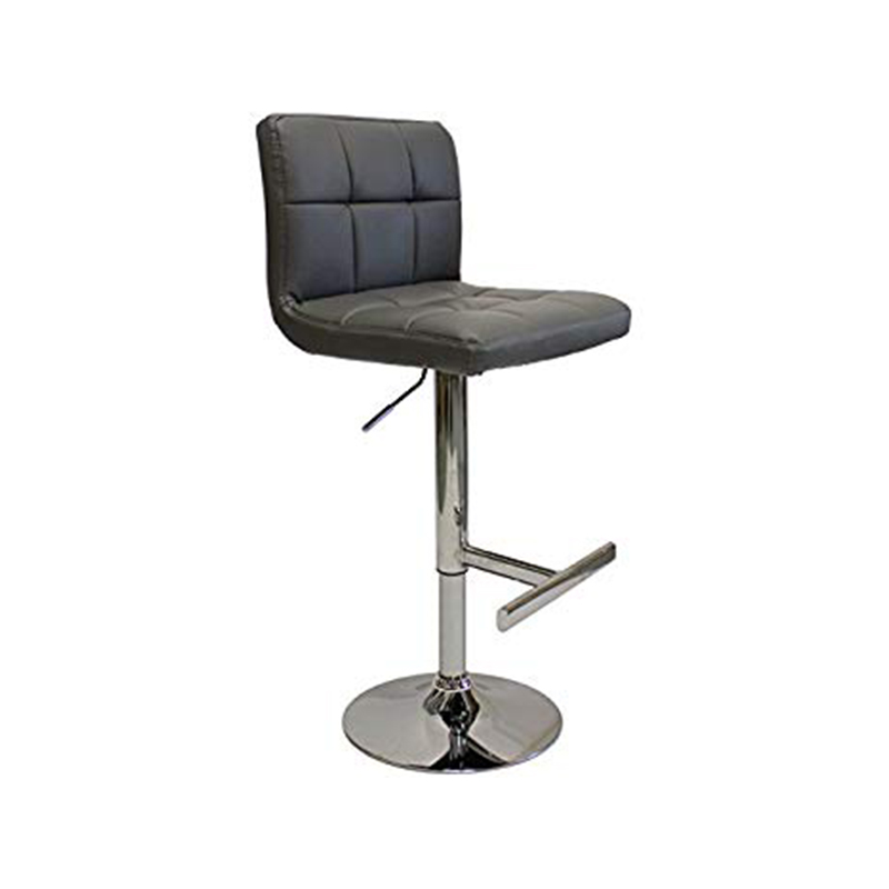 Azagi Chrome Real Leather Kitchen Bar Stool - Charcoal