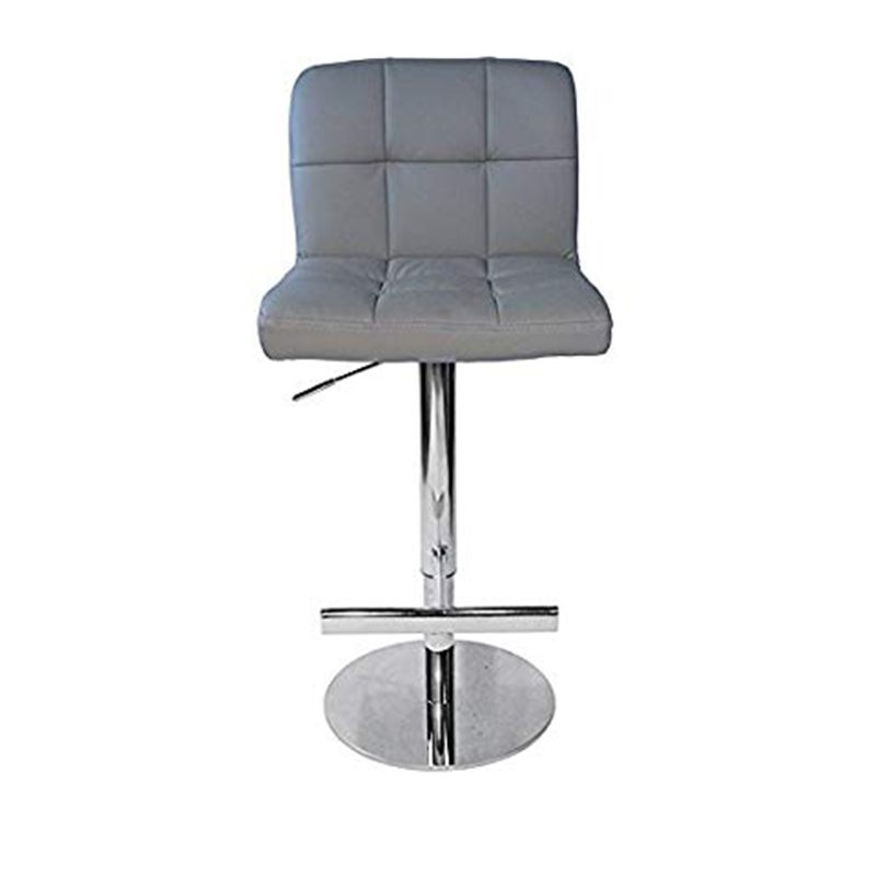 Azagi Chrome Real Leather Kitchen Bar Stool - Grey