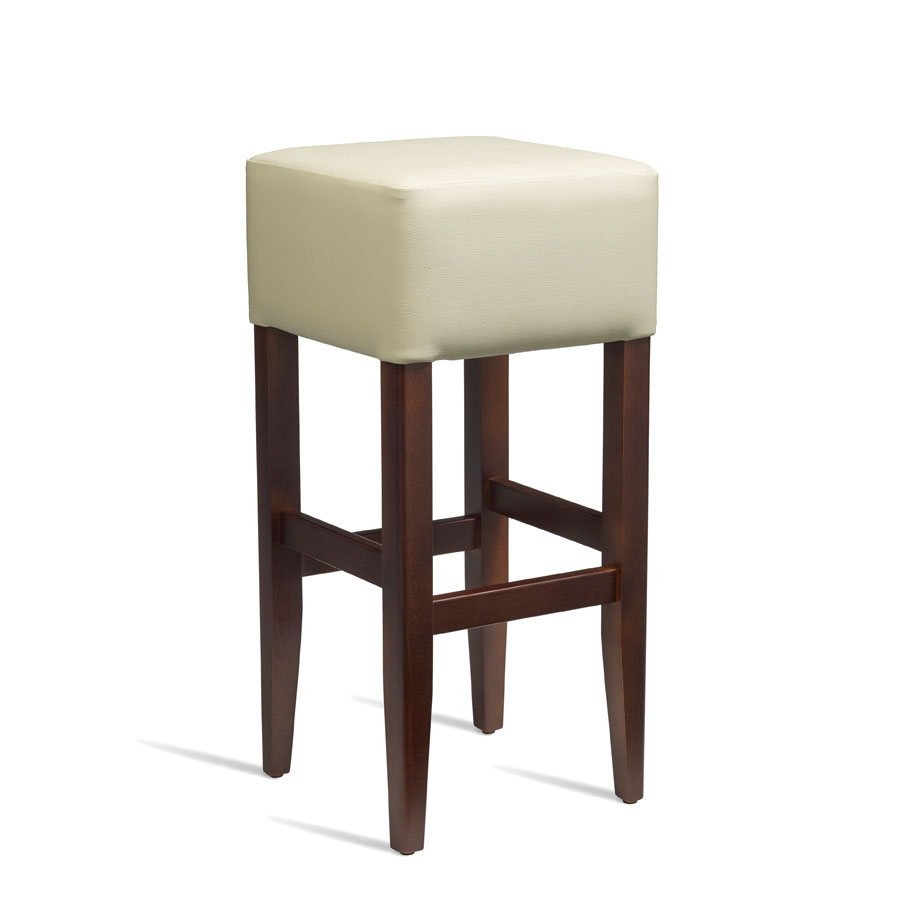 Emerald Kitchen Bar Stool - Dark Walnut Frame With Cream Padded Seat - Fully Assembled