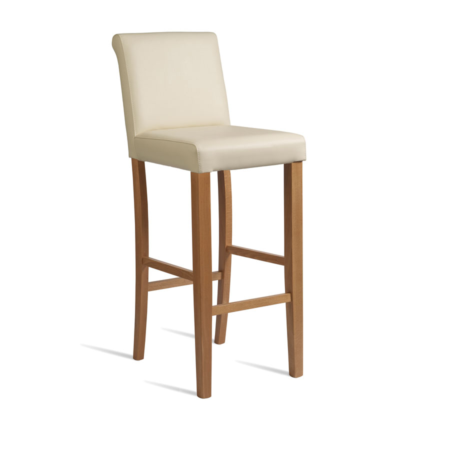 Baritone Breakfast Bar Stool - Light Oak Frame Cream Padded Seat - Fully Assembled