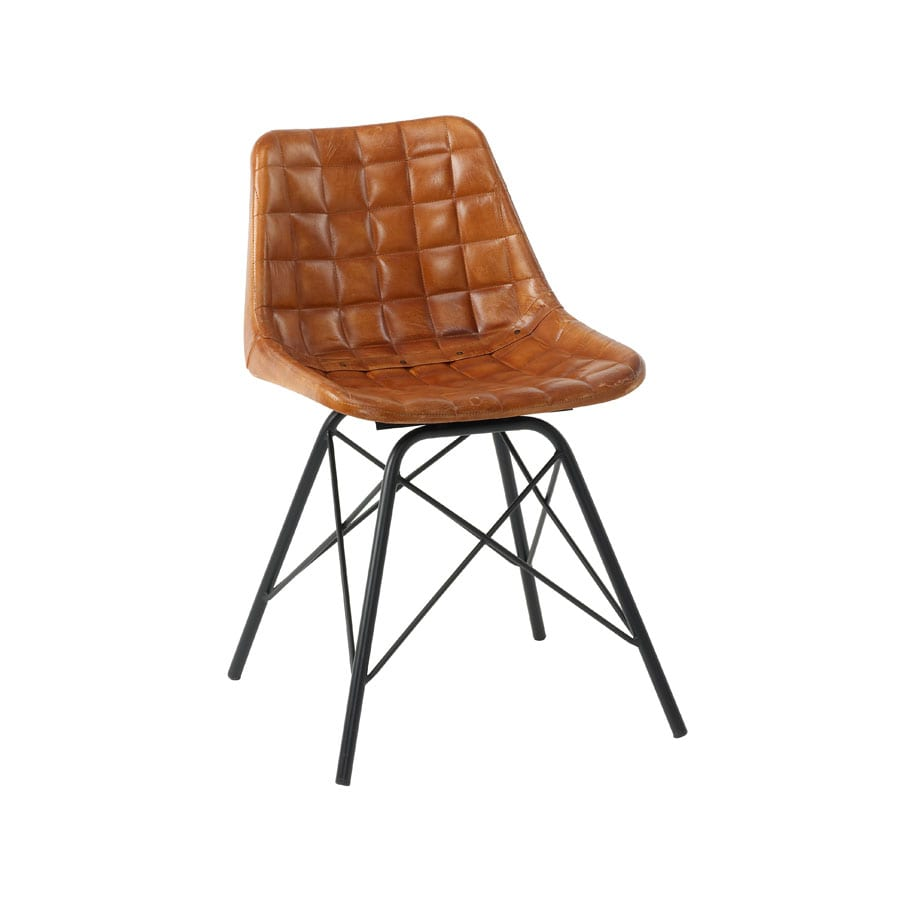 Chick Side Chair - Black Frame - Bruciato Tan