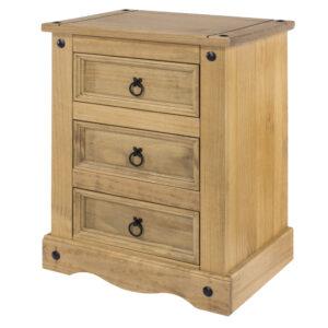 Cortan 3 drawer bedside cabinet