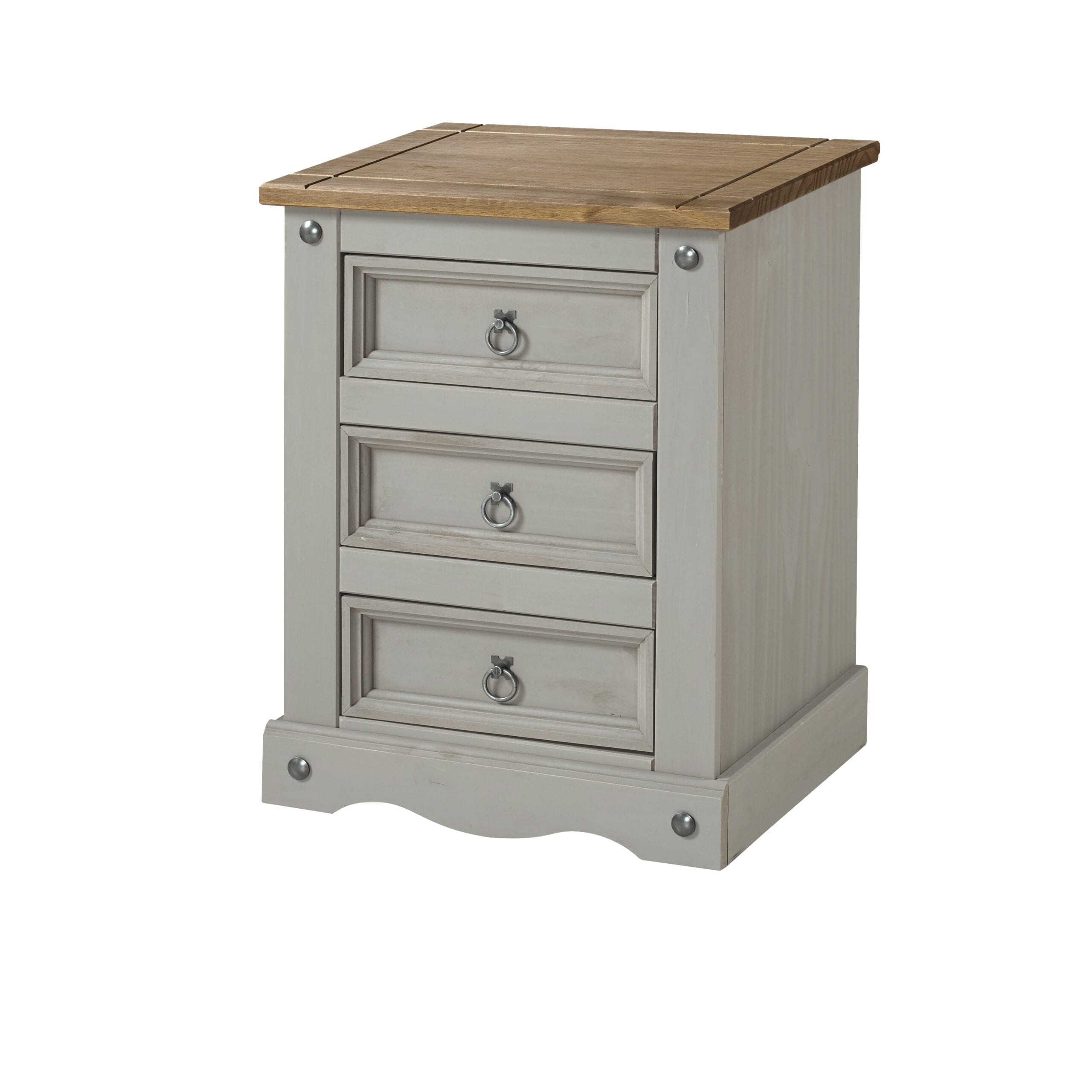 Coson Grey 3 drawer bedside cabinet