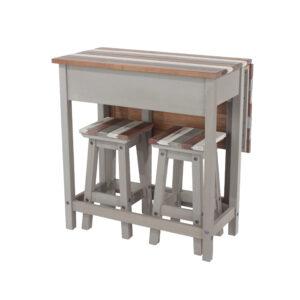 Retro breakfast drop leaf table & 2 stools SET