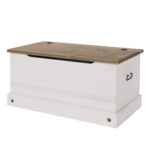 Carala Pine White Storage Trunk White Painted